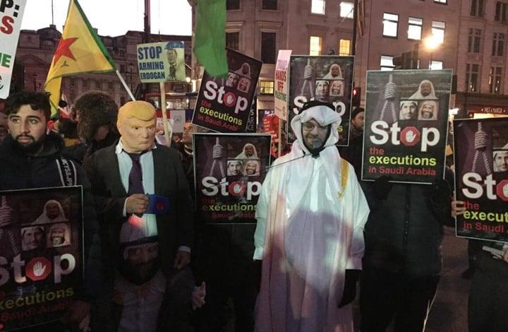 تظاهرة احتجاجية بلندن للمطالبة بالإفراج عن المعتقلين بالسعودية