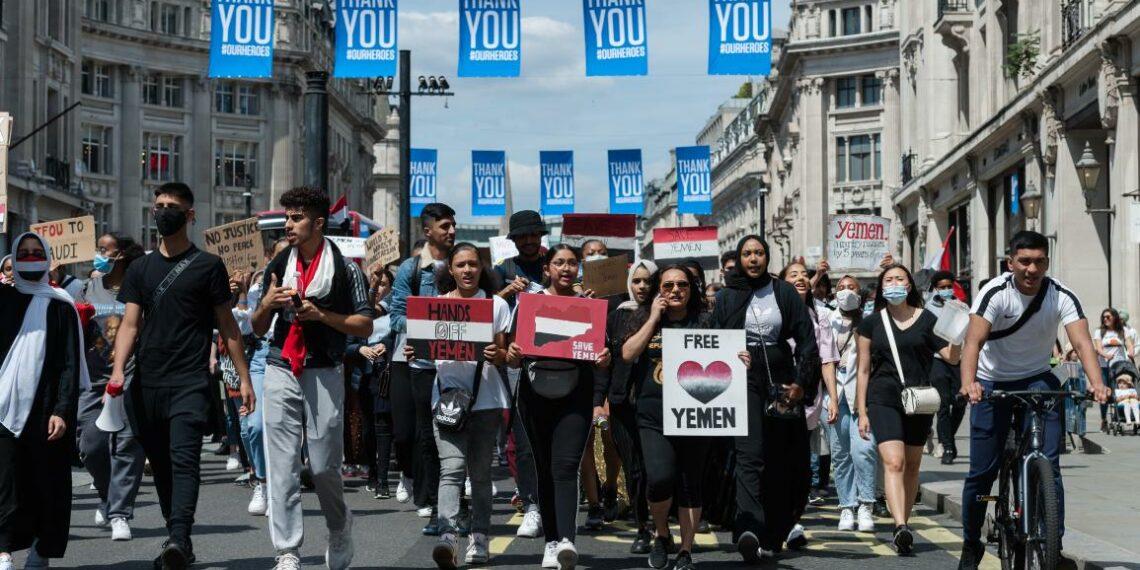 تظاهرة احتجاجية ببريطانيا لوقف بيع الأسلحة للسعودية